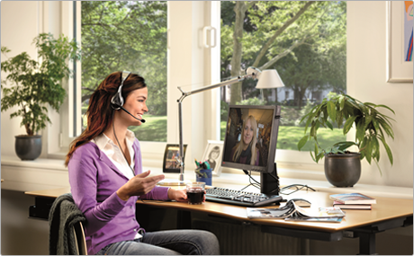 Women Using a Jabra Office Headset